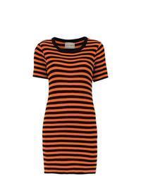 orange horizontal gestreiftes Freizeitkleid von Andrea Bogosian