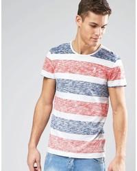 orange horizontal gestreiftes T-Shirt mit einem Rundhalsausschnitt