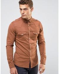 orange Jeanshemd