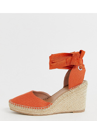 orange Keilpumps aus Leder von ASOS DESIGN