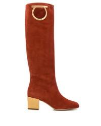 orange kniehohe Stiefel aus Wildleder von Salvatore Ferragamo
