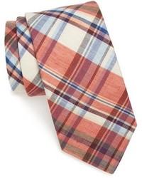 orange Krawatte mit Schottenmuster