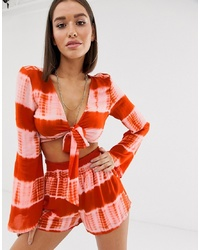 orange Mit Batikmuster kurzes Oberteil von Missguided