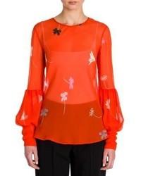 orange Langarmbluse mit Blumenmuster