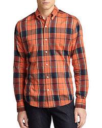 orange Langarmhemd mit Schottenmuster