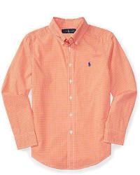 orange Langarmhemd mit Vichy-Muster