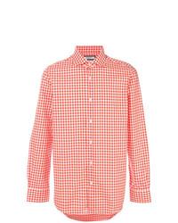 orange Langarmhemd mit Vichy-Muster von Fashion Clinic Timeless