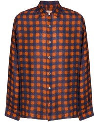 orange Langarmhemd mit Vichy-Muster von Federico Curradi