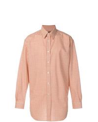 orange Langarmhemd mit Vichy-Muster von Raf Simons