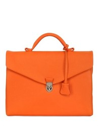 orange Leder Aktentasche