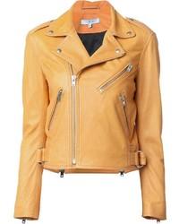 orange Leder Bikerjacke