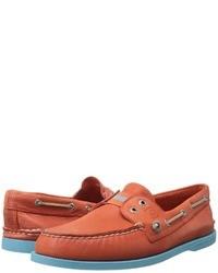 orange Leder Bootsschuhe