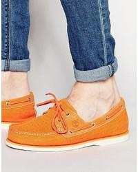 orange Leder Bootsschuhe von Timberland