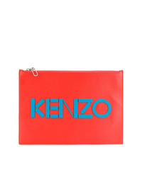 orange Leder Clutch Handtasche