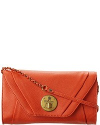 orange Leder Clutch