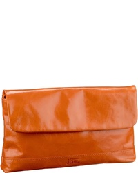 orange Leder Clutch von Jost