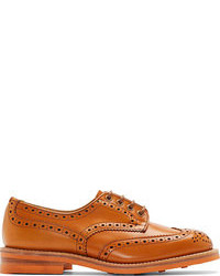 orange Leder Derby Schuhe