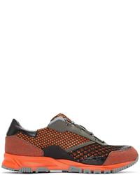 orange Leder niedrige Sneakers
