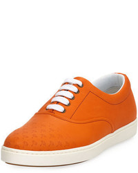 orange Leder niedrige Sneakers