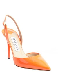 orange Leder Pumps mit Ausschnitten