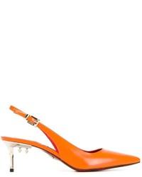 Orange Leder Pumps von Cesare Paciotti