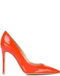 Orange Leder Pumps von Gianvito Rossi