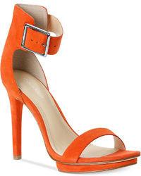 orange Leder Sandaletten