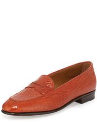 orange Leder Slipper