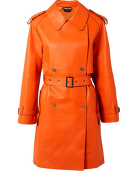 orange Leder Trenchcoat