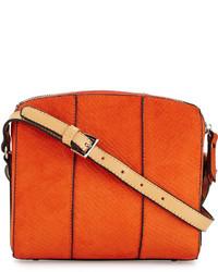 orange Leder Umhängetasche mit Schlangenmuster