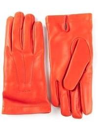 orange Lederhandschuhe