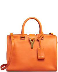 orange Lederhandtasche