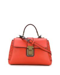 orange Lederhandtasche von Bottega Veneta