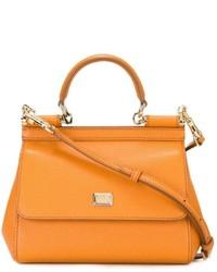 orange Lederhandtasche von Dolce & Gabbana