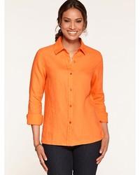 Orange leichte Bluse mit Knöpfen