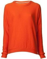 orange Pullover mit einem Rundhalsausschnitt