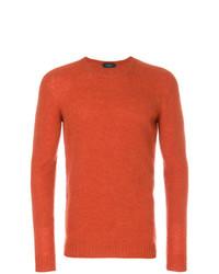 orange Pullover mit einem Rundhalsausschnitt von Zanone