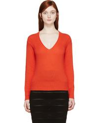 orange Pullover mit einem V-Ausschnitt von Burberry