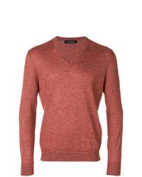 orange Pullover mit einem V-Ausschnitt von Ermenegildo Zegna