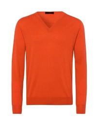 orange Pullover mit einem V-Ausschnitt von Falke