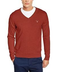 orange Pullover mit einem V-Ausschnitt von Gant
