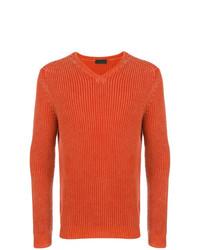 orange Pullover mit einem V-Ausschnitt von Iris von Arnim