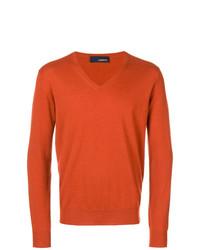 orange Pullover mit einem V-Ausschnitt von Lardini
