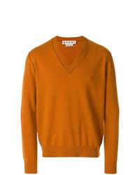 orange Pullover mit einem V-Ausschnitt von Marni