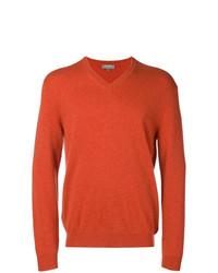 orange Pullover mit einem V-Ausschnitt von N.Peal