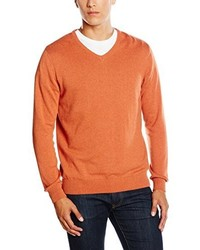 orange Pullover mit einem V-Ausschnitt von Paul James Knitwear