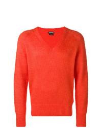 orange Pullover mit einem V-Ausschnitt von Tom Ford