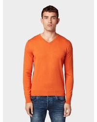 orange Pullover mit einem V-Ausschnitt von Tom Tailor