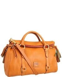 orange Satchel-Tasche aus Leder