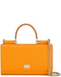 orange Satchel-Tasche aus Leder von Dolce & Gabbana